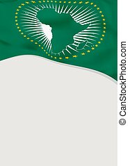 Leaflet design with flag of African Union. Vector template.