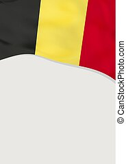 Leaflet design with flag of Belgium. Vector template.