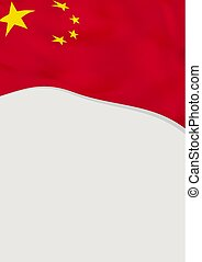 Leaflet design with flag of China. Vector template.