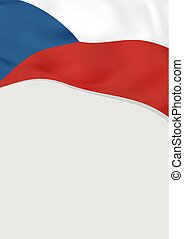 Leaflet design with flag of Czech Republic. Vector template.