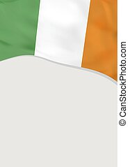 Leaflet design with flag of Ireland. Vector template.