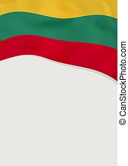 Leaflet design with flag of Lithuania. Vector template.