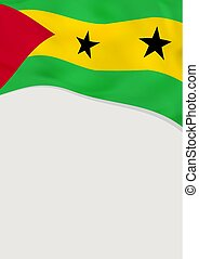 Leaflet design with flag of Sao Tome and Principe. Vector...