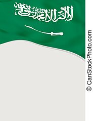 Leaflet design with flag of Saudi Arabia. Vector template.