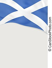 Leaflet design with flag of Scotland. Vector template.