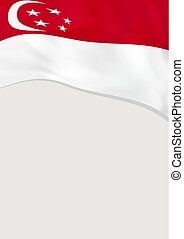 Leaflet design with flag of Singapore. Vector template.