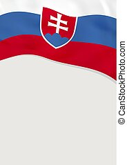 Leaflet design with flag of Slovakia. Vector template.