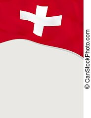 Leaflet design with flag of Switzerland. Vector template.