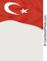 Leaflet design with flag of Turkey. Vector template.
