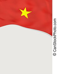 Leaflet design with flag of Vietnam. Vector template.