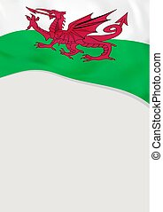 Leaflet design with flag of Wales. Vector template.