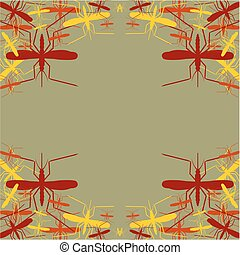 Leaflet pattern. Vector abstract background. Mosquito silhouette icons
