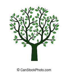 leafs., 緑, ベクトル, 木, illustration.