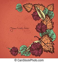 leafs, 背景, 秋