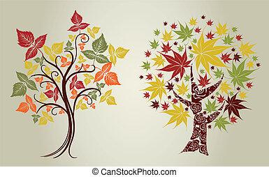 leafs., ação graças, árvores