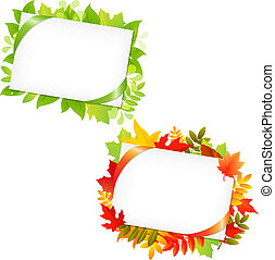 Leafs And Blank Gift Tag, Isolated On White Background, ...
