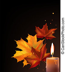 Leafs and candle - Realistic orange autumn maple leafs and...