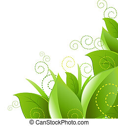 Leafs And Grass, Isolated On White Background, Vector...