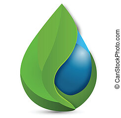 Leafs and water drop logo - Leafs and water drop vector icon...