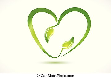 Leafs health nature heart shape logo