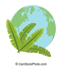 leafs palm tropical foliage icon vector illustration design