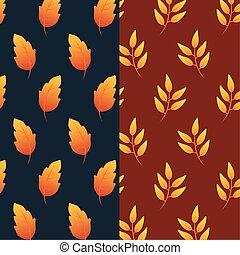 leafs, patrón, follaje de otoño, plano de fondo