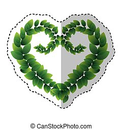 leafs plant ecology symbol with shape heart