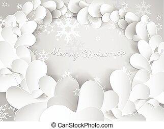 leafs, text., 雪, 背景, 薄片, メリークリスマス