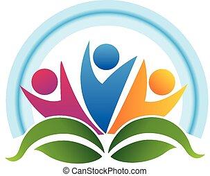leafs, trabajo en equipo, gente, logotipo