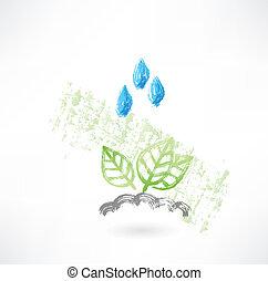 Leafs under the rain