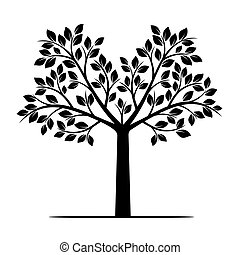 leafs., vektor, träd, illustration., svart