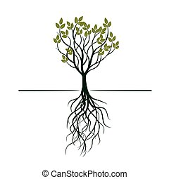 leafs., verde, vettore, albero, illustration.