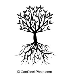 leafs., vettore, albero, illustration., nero