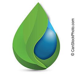 leafs, y, gota agua, logotipo