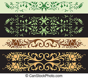 Leafy Ornaments - A series of leafy border treatments, from...