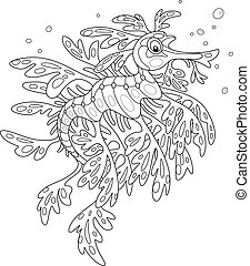Leafy sea dragon - Black and white vector illustration of an...