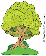 Leafy tree on hill - vector illustration.