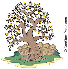 Leafy tree with fence - vector illustration.