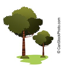 leafy trees icon cartoon isolated