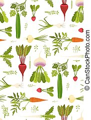 Leafy Vegetables and Greens Seamless Pattern Background -...