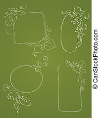 Four Vecor hand drawn borders embellished with flowers and leaves are shown on a green background.