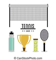 League and icon set of tennis sport