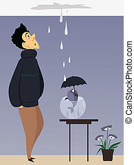 Man and a fish with umbrella looking at a ceiling leak, vector illustration