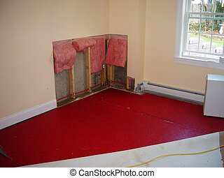 leak repair in house - drywall removed to repair leaking...