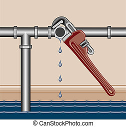 Leaking Pipe Repair - Illustration of a leaking water pipe...
