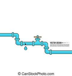 Leaking water pipes. Broken pipeline with leakage, dripping ...