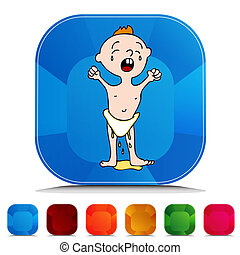 Leaking Wet Diaper Gemstone Button Set