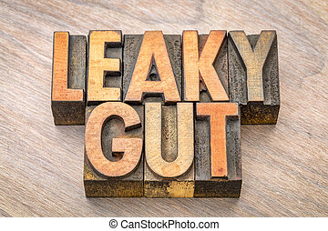 Leaky gut word abstract in wood type - Leaky gut word...