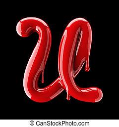 Leaky red alphabet on black background. Handwritten cursive letter U.