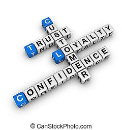 lealtad, crucigrama, costomer